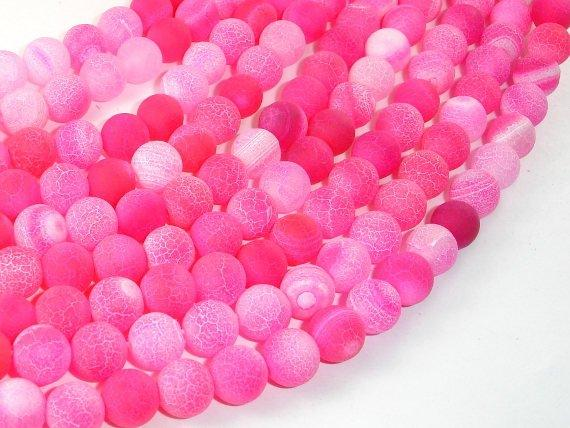 Frosted Matte Agate Beads-Pink, 8mm Round Beads , 14.5 Inch, Full strand
