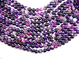 Banded Agate Beads, Purple, 10mm(10.3mm) Round-BeadBeyond