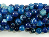 Banded Agate Beads, Blue, 10mm(10.5mm) Round-BeadBeyond