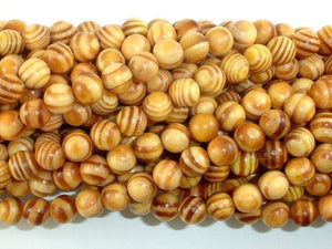 Indonesia Agathis Alba King Wood Beads, 8mm Round-BeadBeyond