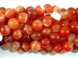 Banded Agate Beads, Red & Orange, 10mm-BeadBeyond