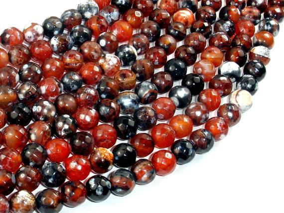 Fire Agate Beads, 8mm Faceted Round, 14.5 Inch, Full strand
