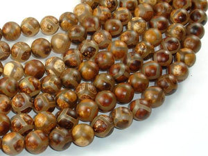 Tibetan Agate, 10mm Round Beads-BeadBeyond