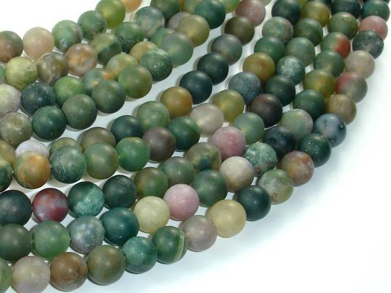 Matte Indian Agate Beads, Fancy Jasper Beads, 8mm-BeadBeyond
