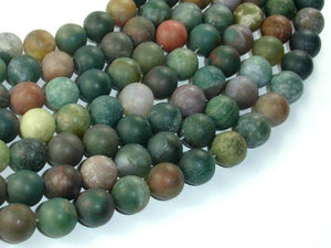 Matte Indian Agate Beads, Fancy Jasper Beads, 10mm(10.5mm) Round Beads, 15.5 Inch