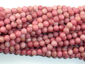 Rhodonite Beads, Pink Rhodonite, 4mm (4.6mm) Round-BeadBeyond