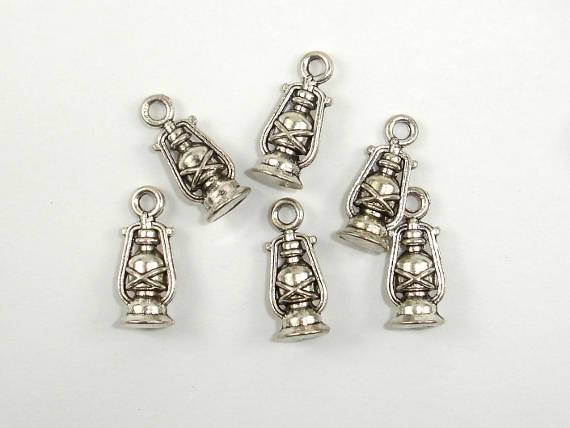 Oil Lamp Charms, Lantern Charms, Zinc Alloy, Antique Silver Tone 20pcs-BeadBeyond