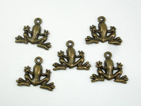 Frog Charms, Zinc Alloy, Antique Brass 20pcs-BeadBeyond