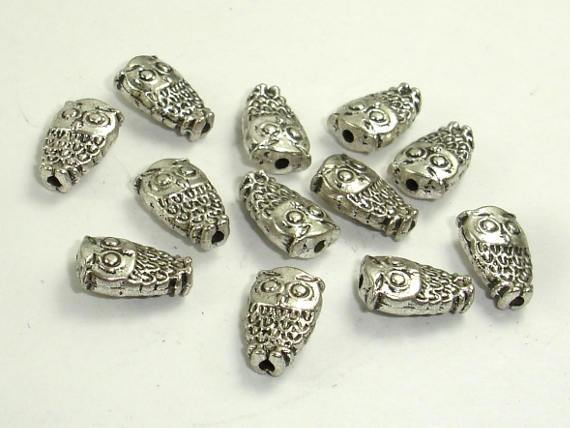 Owl Spacer, Zinc Alloy, Antique Silver Tone 20pcs-BeadBeyond