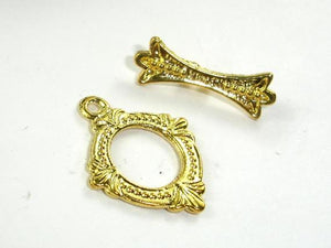 Metal Toggle Clasps , Gold Tone, Ring, 6 sets-BeadBeyond