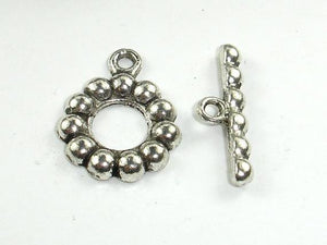 Metal Toggle Clasps , Antique Silver Tone, Ring, 6 sets-BeadBeyond