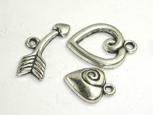 Heart Toggle Clasps , Antique Silver Tone, Ring 6 sets-BeadBeyond
