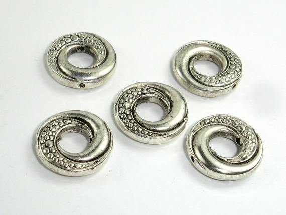Metal Rings, Metal Spacer-Bead Frame, Zinc Alloy, Antique Silver Tone 10pcs-BeadBeyond