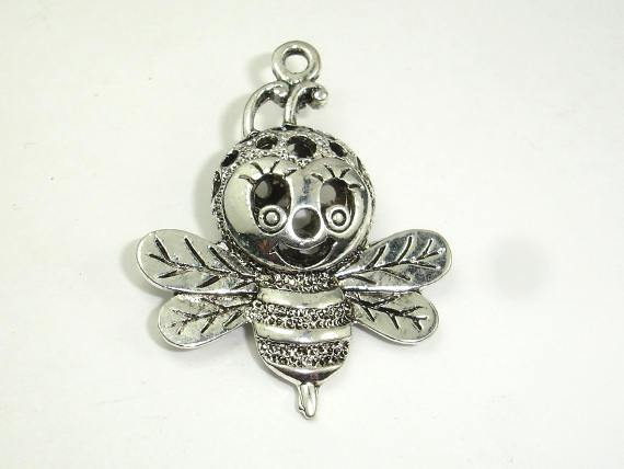Metal Charms - Honey Bee Pendant, Zinc Alloy, Antique Silver Tone 2pcs-BeadBeyond