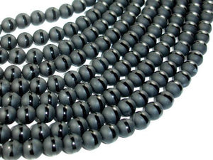 Matte Black Onyx Beads, 8mm Round Beads-with polished line-BeadBeyond