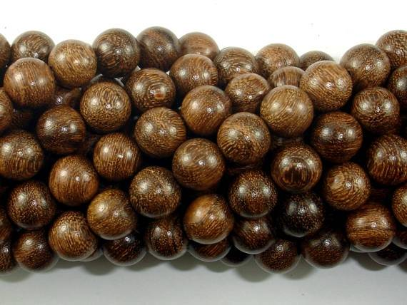 Gold Phoebe Ebony Beads, Gold Wire Sandalwood, 8mm Round Beads-BeadBeyond