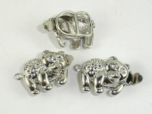 Bear Box Clasps, Rhodium Plated 2pcs-BeadBeyond