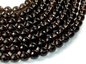 Smoky Quartz Beads, 10mm Faceted Round Beads-BeadBeyond