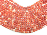 Matte Banded Agate Beads, Red & Orange, 8mm Round Beads-BeadBeyond