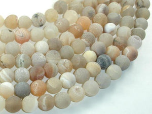 Druzy Agate Beads, Geode Beads, 10mm(10.5mm) Round Beads, 15.5 Inch