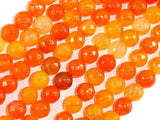 Dragon Vein Agate Beads, Orange, 8mm Faceted Round Beads-BeadBeyond