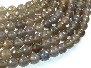 Gray Agate Beads, 10mm Faceted Round Beads-BeadBeyond