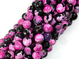 Agate Beads, Pink & Black, 8mm Faceted-BeadBeyond