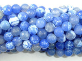Fire Agate Beads, Blue & White, 8mm Faceted Round Beads-BeadBeyond
