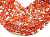 Fire Agate Beads, Orange & White, 10mm Faceted Round-BeadBeyond