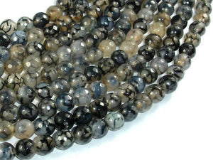 Dragon Vein Agate Beads, Black & Clear, 8mm Faceted Round Beads-BeadBeyond