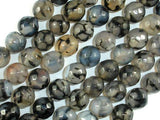 Dragon Vein Agate Beads, Black & Clear, 10mm Faceted Round Beads-BeadBeyond