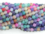 Frosted Matte Agate - Multi color, 4mm Round Beads-BeadBeyond