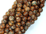 Crackle Tibetan Agate, 8mm Round Beads-BeadBeyond