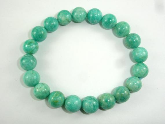 African Amazonite Beads, African Amazonite Bracelet, 9mm, Approx 7.5 Inch-BeadBeyond