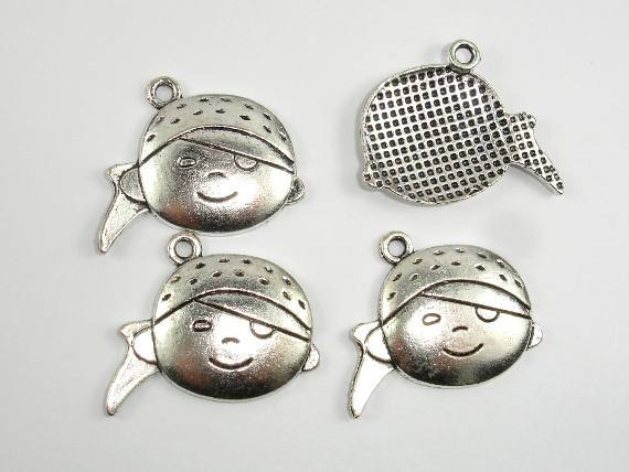 Girl Head Charms, Girl Head Pendant, Zinc Alloy, Antique Silver Tone, 27x21 mm, 10 pcs, Hole 2mm (006873023)