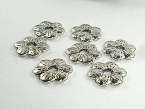 Metal Flower Spacer, Zinc Alloy, Antique Silver Tone 20pcs-BeadBeyond