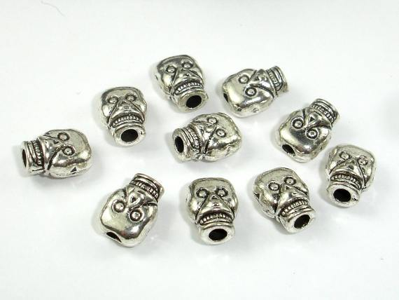 Skull Spacer, Zinc Alloy, Antique Silver Tone-BeadBeyond