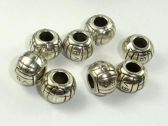 Metal Spacer-Drum, Metal Beads, Large Hole Spacer, Zinc Alloy 10pcs-BeadBeyond