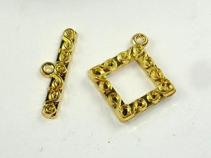 Square Toggle Clasps , Gold Tone, 4 sets-BeadBeyond