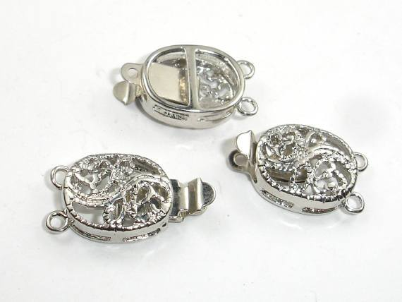 Oval Filigree Box Clasps, Rhodium Plated, 1 and 2 strand, 4pcs-BeadBeyond