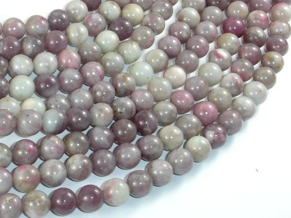 Lilac Jasper Beads, Pink Tourmaline Beads, 8mm Round Beads-BeadBeyond