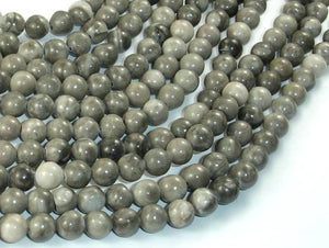 Black Fossil Jasper Beads, 6mm (6.3mm) Round Beads-BeadBeyond