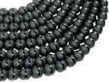 Matte Black Onyx with Polished Line, 10mm Round Beads-BeadBeyond