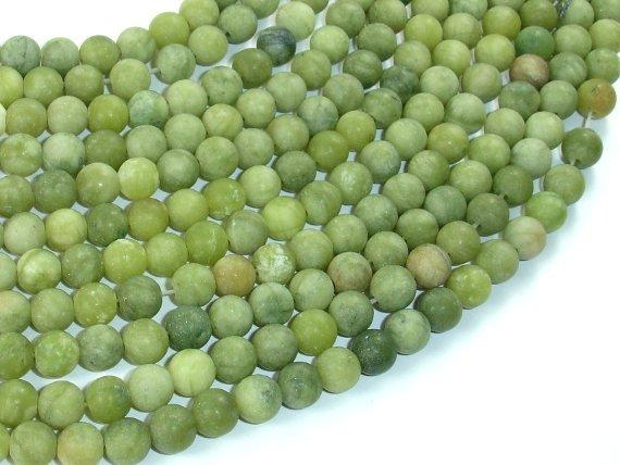 Matte Jade Beads, 6mm(6.5mm) Round Beads-BeadBeyond