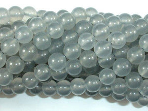 Jade Beads, Light Gray, 8mm Round Beads-BeadBeyond