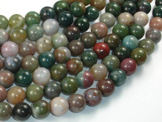 Indian Agate Beads, Fancy Jasper Beads, Round, 10mm-BeadBeyond