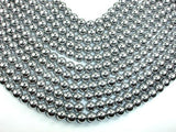 Hematite Beads, Silver, 10mm Round Beads-BeadBeyond
