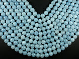 Sponge Quartz Beads-Aqua, 10mm Round Beads-BeadBeyond