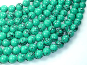 Howlite Turquoise Beads-Green, 10mm Round Beads-BeadBeyond