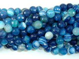 Banded Agate Beads, Striped Agate, Blue, 8mm Faceted Round Beads-BeadBeyond